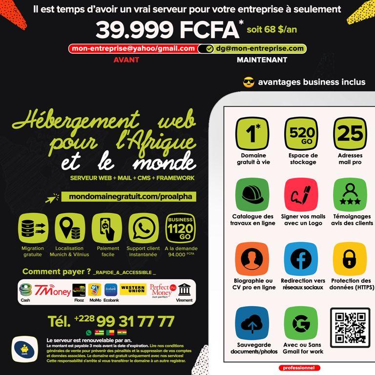 PRO ALPHA avec 520Go Un hébergement web pour l'Afrique et le Togo, Bénin