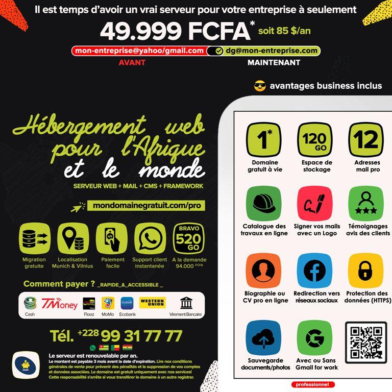 PRO ALPHA avec une adresse IP et  120Go – Un hébergement web pour l'Afrique et le Togo, Bénin
