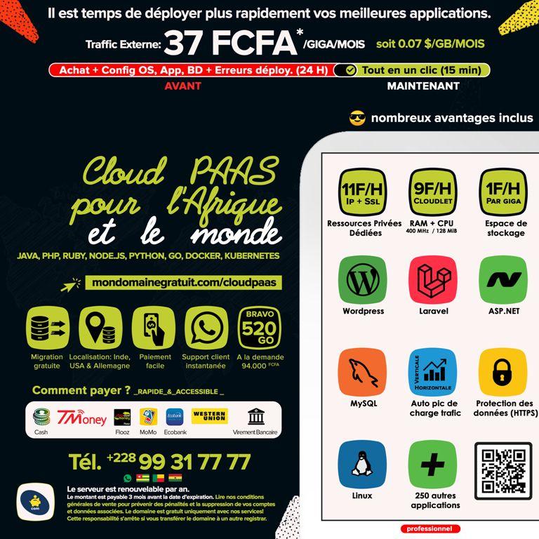 CLOUD PAAS DEDIE – Un hébergement web des applications pour l'Afrique et le Togo, Bénin